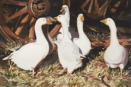 Sale 9099A - Lot 5072 - Elizabeth Krause - Down on the Farm 35.5 x 53 cm (frame: 64 x 81 x 2 cm)