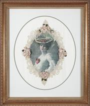 Sale 9080J - Lot 179 - A large elaborate hand stitched ribbon embroidery, The New Hat, within a quality deep boxed gilt frame. Frame Ht: 66cm x 55cm
