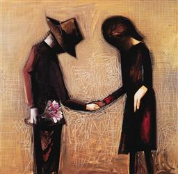 Sale 9195 - Lot 555 - CHARLES BLACKMAN (1928 - 2019) The Meeting archival pigment print, ed. 4/125 65.5 x 67 cm (frame: 103 x 106 x 3 cm) signed lower right