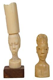 Sale 7978 - Lot 79 - Ivory Carved Vase of an African Girl & an Ivory Carved Bust of an African Girl