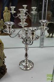 Sale 8226 - Lot 47 - Silver Plated 5 Branch Candelabrum