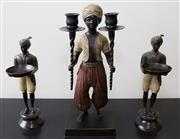 Sale 8310A - Lot 49 - A metal painted Blackamoor figure holding a candlestick together with a pair of figures holding offering bowls. Height of tallest 37cm