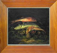 Sale 8392H - Lot 95A - European school - 19th century, Still life with fish and shells