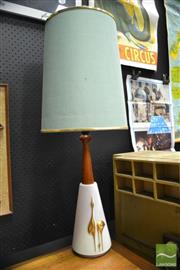 Sale 8409 - Lot 1008A - Teak and Ceramic Table Lamp