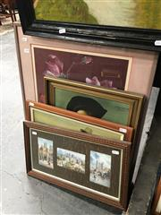 Sale 8674 - Lot 2059 - Group of (4) Assorted Artworks incl: Still Life pastel by B. Bartlett, and (3) Decorative Prints. -