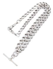 Sale 8879 - Lot 352 - AN ANTIQUE GRADUATED STERLING SILVER ALBERT CHAIN; 6.5 - 10mm wide curb links with t bar and 2 swivel clasps, length 45cm, wt. 51.91g.