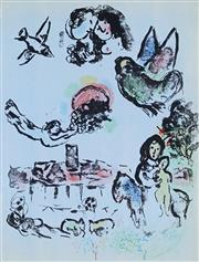 Sale 8959A - Lot 5032 - Marc Chagall (1887 - 1985) - Nocturne in Venice, 1963 32 x 24cm (frame: 77 x 69 x 5 cm)