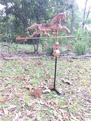 Sale 9080G - Lot 71 - Copper horse weathervane . General wear , some denting . size 120cm H X98 cm Widest /68 W At Horse