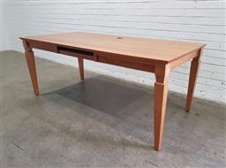 Sale 9134 - Lot 1079 - Tyrone Dearing solid Maple and veneer two drawer desk with keyboard slide (h:75 x w:185 x d:90cm)