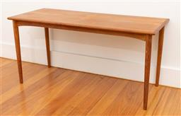 Sale 9239H - Lot 18 - A Mid-Century teak rectangular coffee table with tapering legs, H 44cm x W 90 x D 38cm.