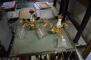 Sale 8305 - Lot 1059 - Pair of Etched Glass and Brass Light Fittings