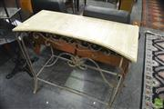 Sale 8386 - Lot 1094 - Metal Based garden table with Marble Top