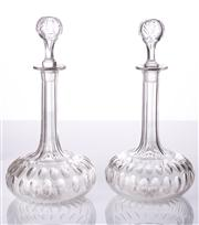 Sale 8473A - Lot 62 - A fine quality pair of antique hand cut lead crystal decanters, c1910