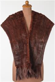 Sale 8550F - Lot 150 - A vintage mink fur shawl with tails and two pockets.