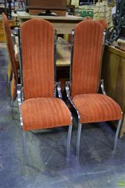 Sale 8566 - Lot 1583 - Set of Eight Chrome & Upholstered High Back Dining Chairs
