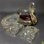 Sale 8652W - Lot 2 - Aventurine Swan Form Bowl with Crystal & Glass incl. Vintage Inkwells
