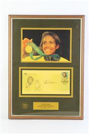 Sale 8766 - Lot 94 - Framed Limited Edition Cathy Freeman Signed First Day Cover ( Edition 291 of 500)
