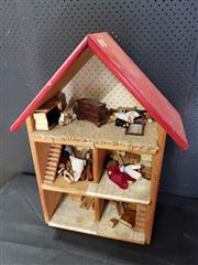 Sale 8971 - Lot 1025 - Timber Dolls House with Furniture (H:72 x W:55 x D:24cm)
