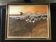 Sale 9033 - Lot 2031 - Ron Stannard, The Cotton Harvest, oil on canvas laid on board, 71 x 86cm (frame), signed