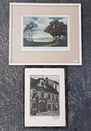Sale 9036 - Lot 2070 - An early hand coloured etching Silvery Morn together with Another etching of a European Town House, each signed 40 x 45cm; 37 x 27cm