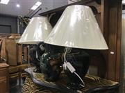 Sale 9063 - Lot 1057 - Pair of Italian Ceramic Table Lamps Together with Matching Jug (h:60cm)
