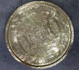 Sale 9101 - Lot 2134 - Large Etched Brass Tray (d63cm)