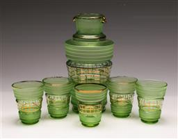 Sale 9131 - Lot 40 - Green glass drinks suit for 5 with gilt highlights (fading to gilt)