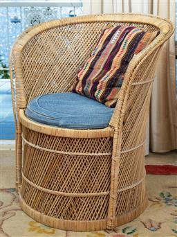 Sale 9164H - Lot 79 - A cane tub chair with cushion, Height of back 80cm x Width 70cm