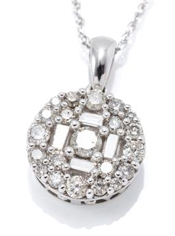 Sale 9168J - Lot 376 - A 10CT WHITE GOLD DIAMOND PENDANT NECKLACE; round cluster centering a round brilliant cut diamond of approx. 0.08ct surrounded by 4...