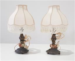 Sale 9188 - Lot 1292A - Pair of brass & alabaster table lamps (h:42cm)