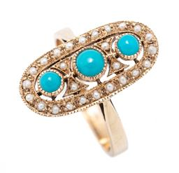 Sale 9221 - Lot 366 - A 9CT GOLD EDWARDIAN STYLE TURQUOISE AND PEARL RING; oval top set down the centre with 3 round cabochon turquoise to seed pearl surr...