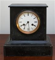 Sale 8270 - Lot 33 - Japy Frères black slate mantle clock, with enamel face dial with Roman numerals, with a key & pendulum, runs but needs a service, H...