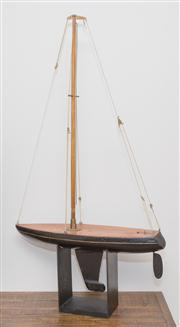 Sale 8308A - Lot 221 - A timber pond yacht raised on black painted square form base, height 101cm