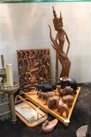 Sale 8346 - Lot 80 - Balinese Timber Carving of a Lady with Other Treen incl. Elephants