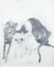 Sale 8466A - Lot 5086 - Anne Hall (1946 - ) (2 works) - Cats, 1968; Kitty, 1968 78.5 x 68.5cm; 101 x 70cm (sheet size)