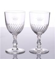 Sale 8473A - Lot 63 - A pair of superior quality hand cut lead crystal toasting goblets, hand engraved with a 9 point coronet denoting a French Count, c19...