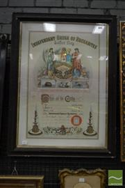 Sale 8509 - Lot 2054 - Victorian Chromolithographic Certificate for the Independent Order of Rechabites, Salford Unity chapter, for Brother G Cooper, image...