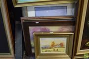 Sale 8518 - Lot 2053 - 4 Artworks Various Artists, Watercolours x 3, Oil x 1, Various Sizes