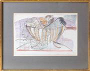 Sale 8550H - Lot 194 - Lazzaro Donati (1929-1977)  pair  still life and interior with woman and child, watercolour, gouache (on map) by Donati 59 in gilt f...