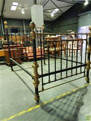 Sale 8566 - Lot 1303 - Iron and Brass Double Bed