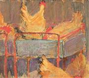 Sale 8645 - Lot 2054 - Artist Unknown - Chooks on Trolley, 16 x 18cm