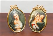 Sale 8774A - Lot 106 - A pair of Limoges porcelain painted ovals after Vigee Lebrun (1755 - 1842) depicting his wife and daughter the other depicting Madam...