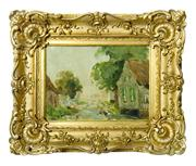 Sale 8828A - Lot 36 - Impressionist Belgium landscape by Albert Neirinck 1921-2010 Signed  lower Left in  fancy antique gilt frame. Canvas on Board 21 x...
