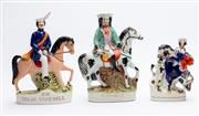 Sale 8873A - Lot 37 - Three colourful Staffordshire equestrian figures, featuring Sir Colin Campbell, Dick Turpin and one of a one of a lady, possibly Que...