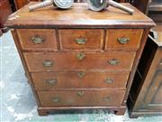 Sale 8939 - Lot 1083 - Early Georgian Walnut Veneered Chest of 5 Drawers. H:104.5, W: 93, D: 48cm