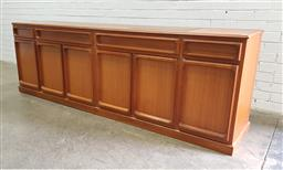 Sale 9121 - Lot 1014 - Vintage sideboard with four drawers above six doors by Chiswell (h:80 w:235 d:45cm)