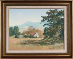 Sale 9150A - Lot 5094 - JOHN SHARMAN (1939 - ) Country Cottage in the Valley oil on board 54.5 x 59.5 cm (frame: 63 x 79 x 5 cm) signed lower right