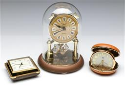 Sale 9144 - Lot 113 - A German dome clock together with two carriage clocks, one missing front lid