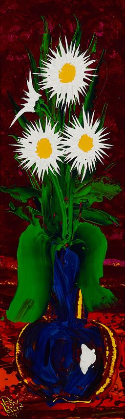 Sale 9170 - Lot 554 - DEAN VELLA (1958 - ) White Daisies on Burgundy oil and acrylic on board 74.5 x 24 cm (frame: 122 x 71 x 4 cm) signed lower left