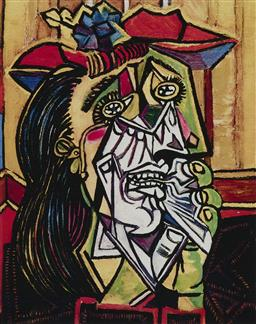 Sale 9244A - Lot 5091 - PABLO PICASSO (1881 - 1973) Weeping Woman with Red Hat giclee, ed. 422/500 33.5 x 26 cm (frame: 67 x 49 x 3 cm) Collection Domaine P...